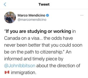 Marco Mendicino Tweets on Direction of Canada Immigration